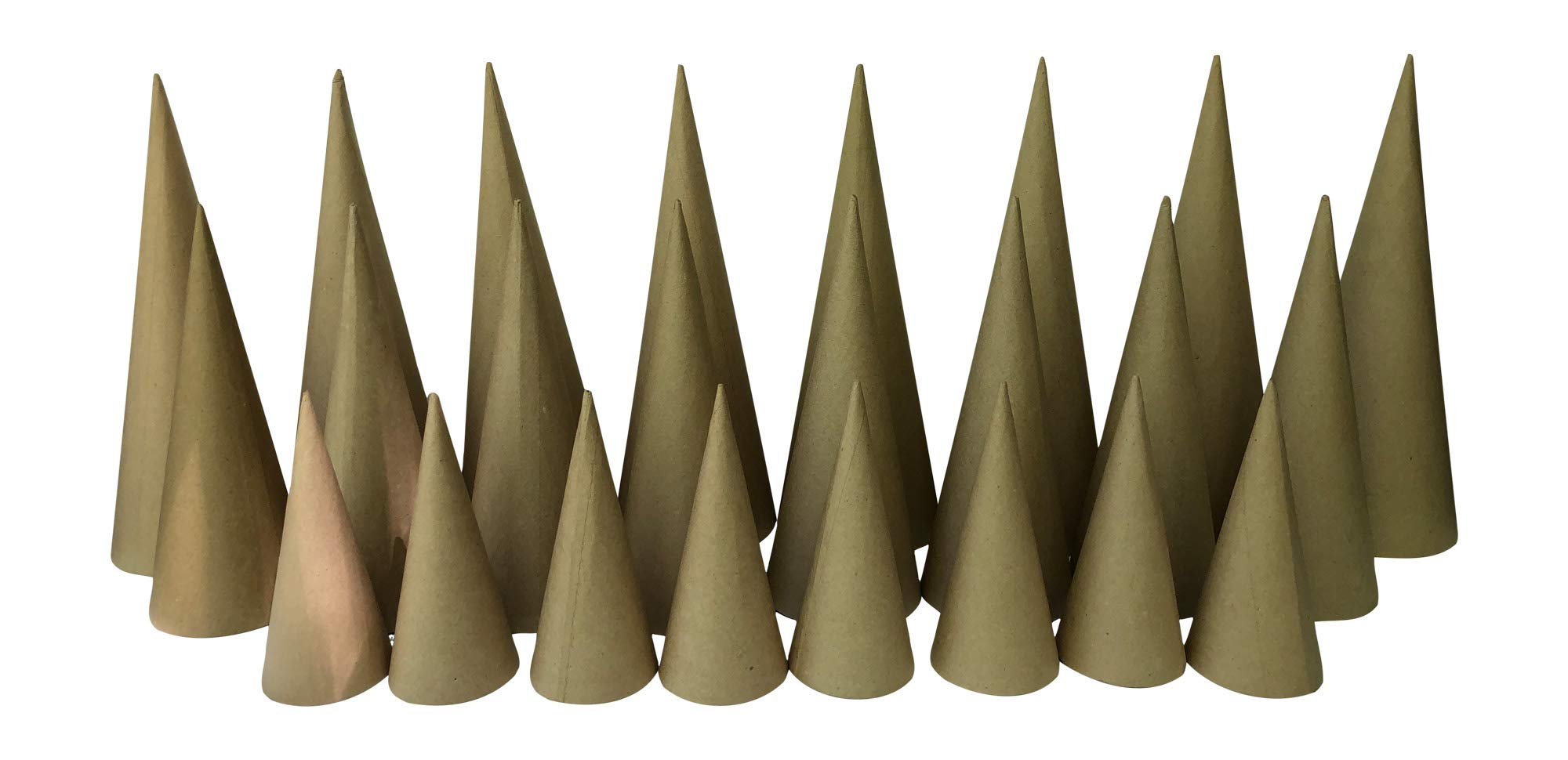 Paper Mache Craft Cones Variety Pack 3 Sizes- 13.75 x 5, 10.63 x 4, 7 x 3 Inches- Set of 24