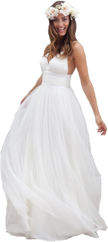 CharmingBridal Womens Spaghetti Backless Lace Beach Wedding Dresses