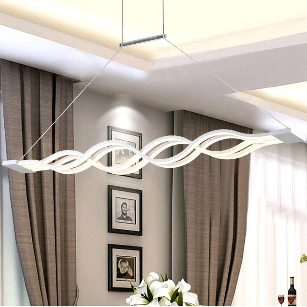 Frideko Modern Luxury 80W 100CM 2835 LED Strip with Crystal Shade Ceiling Pendant Light for Home Office Restaurant Hotel (Cool White)