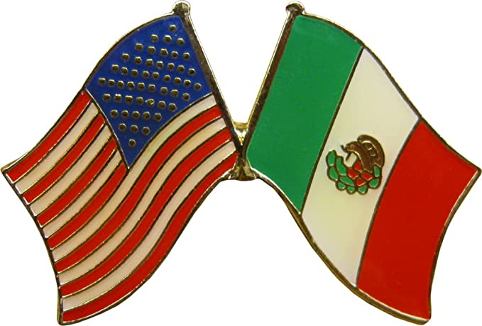 81cd2ed1bad Amazon.com  Crossed United States of America   Mexico Flags Enamel ...