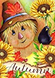 Toland Home Garden 1012215 Autumn Scarecrow 28 x 40 inch Decorative, Fall Harvest Happy Friends, House Flag