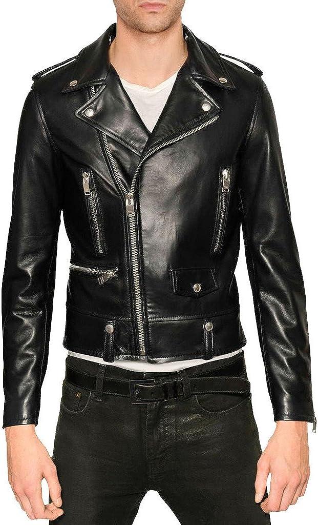 Mens Genuine Cow Leather Jacket Slim Fit Motorcycle Jacket LTC137