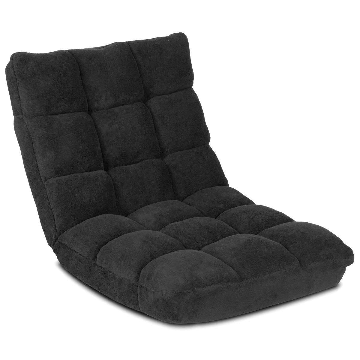 Giantex Floor Folding Gaming Sofa Chair Lounger Folding Adjustable 14-Position Sleeper Bed Couch Recliner (Black) by Giantex