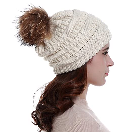 1eff464c295 Lvaiz Womens Winter Knit Slouchy Pom Beanie Hats Oversized Chunky Faux Fur Pom  Pom Hat Bobble