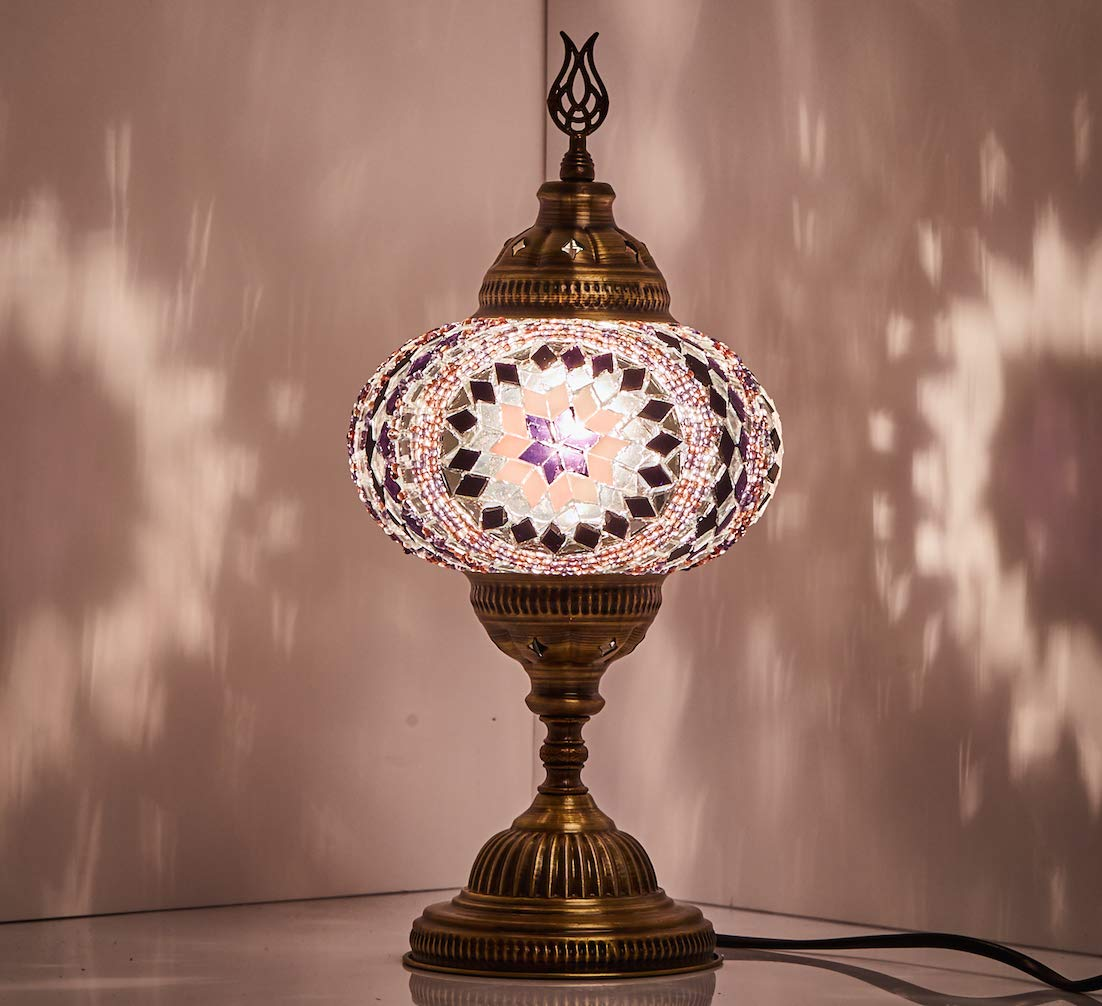 DEMMEX New BOSPHORUS Stunning Handmade Turkish Moroccan Mosaic Glass Table Desk Bedside Lamp Light with Bronze Base Red