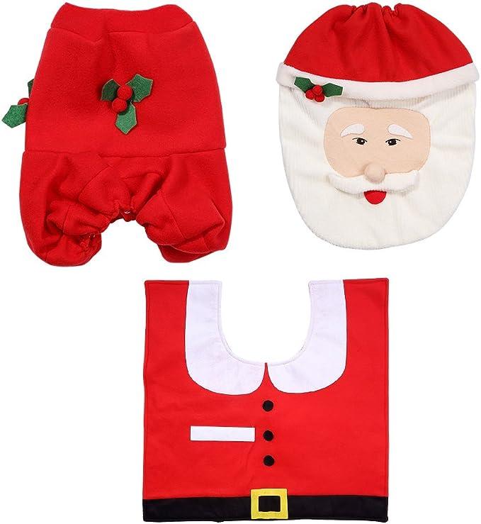 Kranich Decoraci/ón de Ba/ño de Navidad Santa WC Set Asiento y Alfombra y Tejido Caja Conjunto Regalo