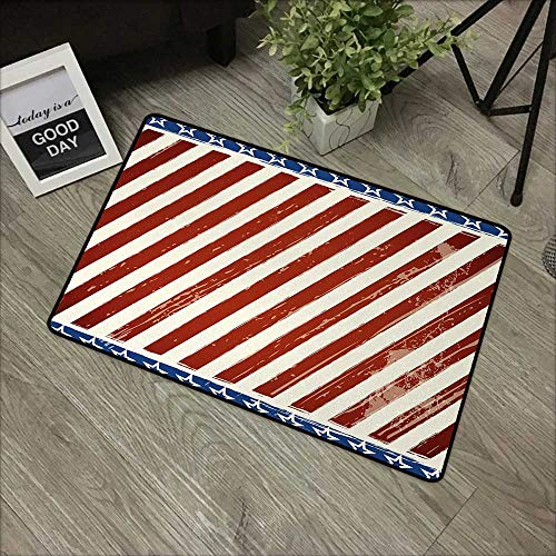 Pool Anti-Slip Door mat W35 x L47 INCH 4th of July,Abstract Diagonal Stripes with Stars Old Glory Themed Illustration,Beige Navy Blue Ruby with Non-Slip Backing Door Mat Carpet