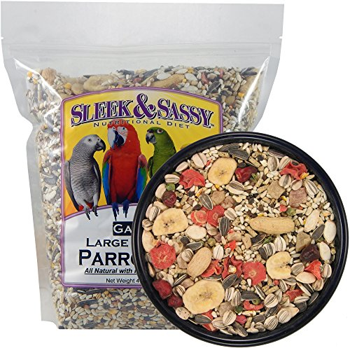 Sleek & Sassy Garden Large Hookbill Parrot Food for Large Conures, Amazons, African Greys, Cockatoos, Pionus-Parrots & Small Macaws (4 lbs.)