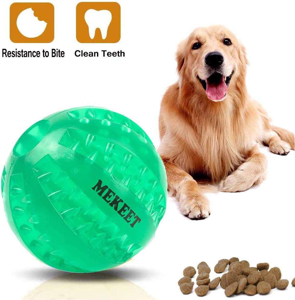 MEKEET Pelota de Juguete para Perros, Pelota de Juego de Limpieza de Dientes para Pelotas de Comida para Perros, Pelota para Masticar de Juguete Resistente a la mordedura no tóxica (Verde)