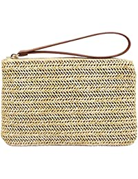Womens Hand Wrist Type Straw Clutch Summer Beach Sea Handbag