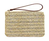 Agneta Women's Hand Wrist Type Straw Summer Beach Sea Handbag (Beige Large)