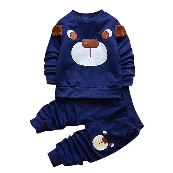 Conjuntos Recien Nacido Invierno, Zolimx Bebé Niño Niñas Dibujos Animados Animales Oso Jersey Tops y Pantalones Trajes Conjuntos de Newborn Baby Boy ...