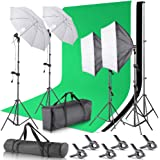 Neewer 2.6M x 3M/8.5ft x 10ft Background Support System and 800W 5500K Umbrellas Softbox Continuous Lighting Kit for…