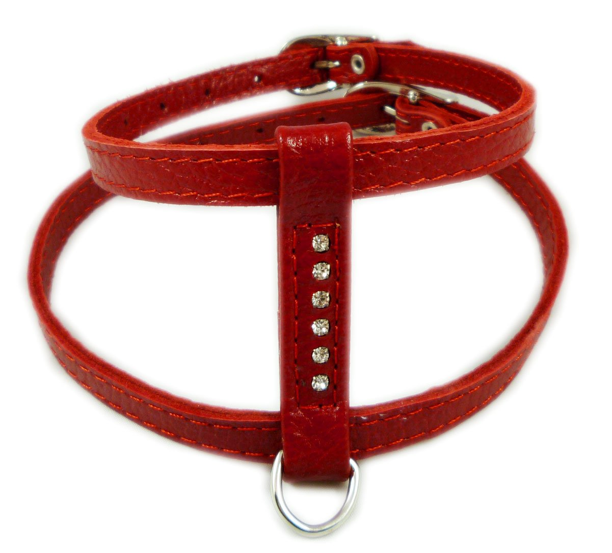 Genuine Leather Dog Harness for Toy Breeds X-small. 10''-13'' Chest Circumference Rhinestones (Red)