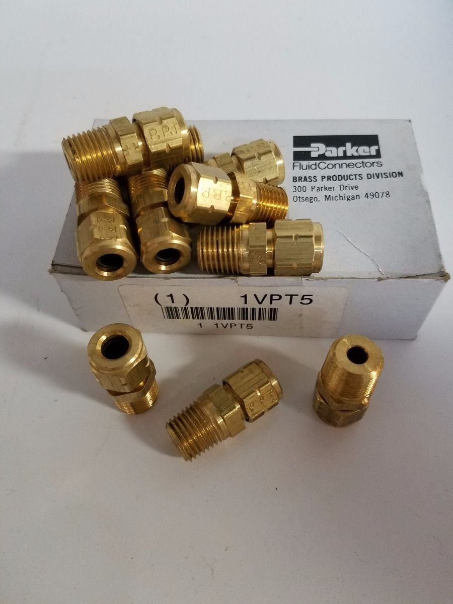 Parker Hannifin 68VL-4-4 Brass Air Brake Male Connector Fitting, 1/4'' Compression Tube x 1/4'' Male Thread