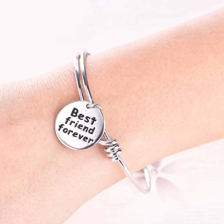Bracelets BFF Jewelry Graduation Birthday Gifts JO WISDOM 925 Sterling Silver Engraved Message BFF Friendship Bangle Bracelet
