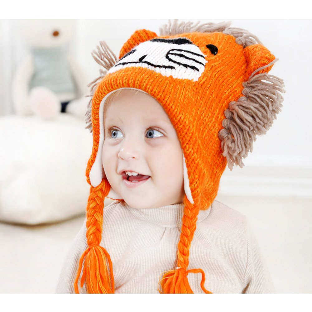 a2151559e8a Amazon.com  IMLECK Cute Lion Head Shape Toddler Warm Winter Knit Hat with Chin  Strap  Clothing