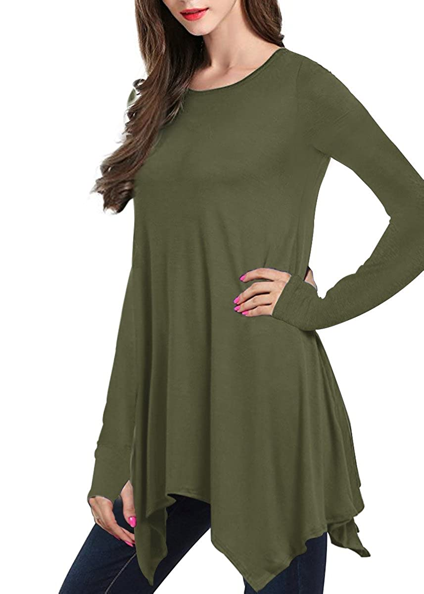 133f0f0363bfd0 Fabric for Loose-fit Comfort   Featuring a long sleeve Thumb Hole and  Handkerchief Hem with Stretch Ways to style  Great Matches With Leggings!