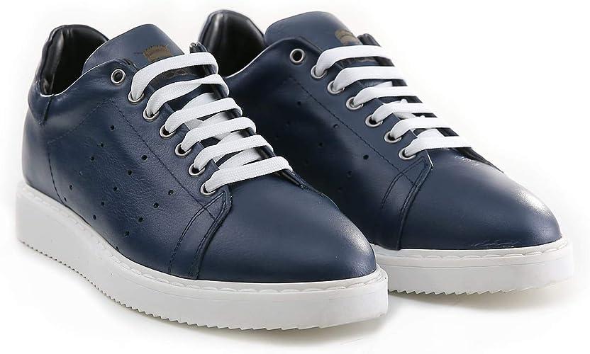 Sneakers Uomo in Pelle di Colore Blu Scarpe Stringate Basse