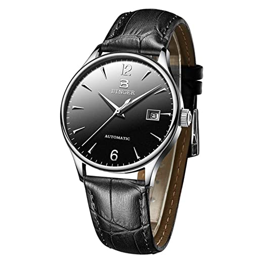BINGER Relojes para Hombre, Automatico Reloj Mecanico Impermeable Relojes de Pulsera Elegante Sencillo con Fecha