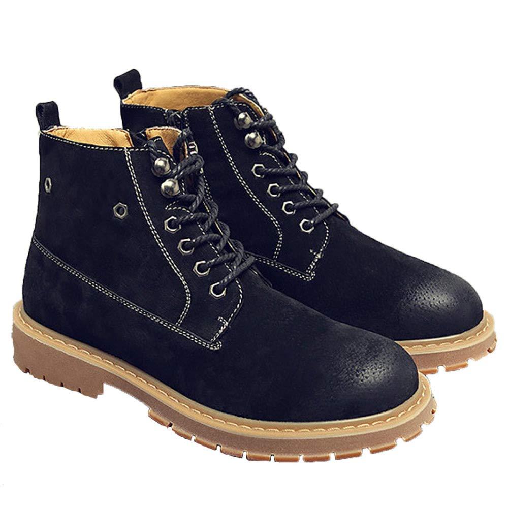 JIAMIJ Herren Lederstiefel Oxford Schuhe Retro Formelle Arbeit Rutschfeste Verschleißfeste Casual Classic Schuhe,schwarz-Plusvelvet-44