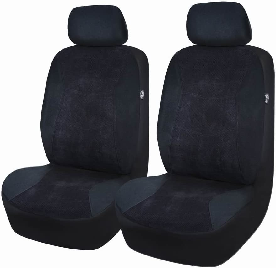 Corduroy Stitched Velvet Black Flying Banner Car Seat Covers Front Cover 6 PCS Air Bag Compatible