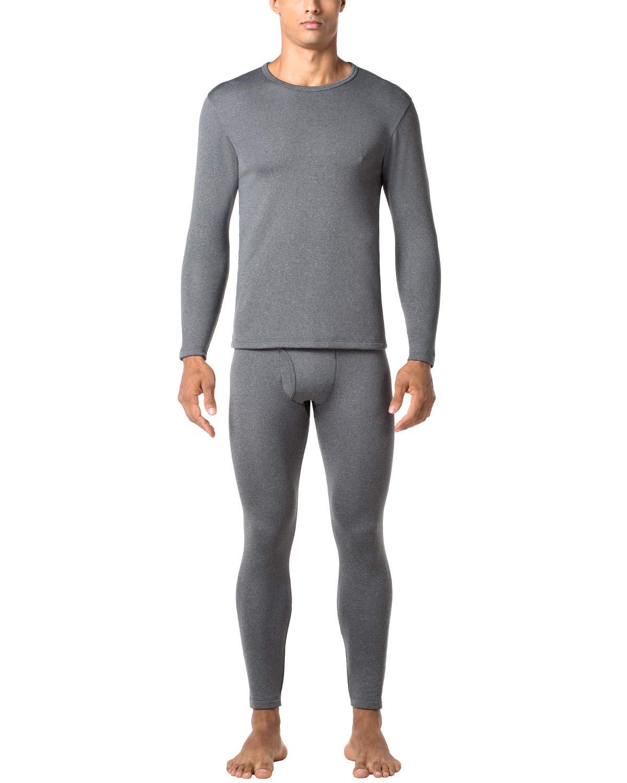 LAPASA Men's Heavyweight Thermal Underwear Long John Set Fleece Lined Base Layer Top and Bottom M24 Dark Grey by LAPASA