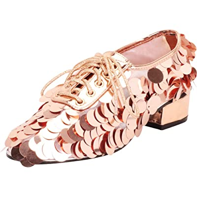 Cambridge Select Women's Oversized Sequin Paillette Lace-Up Chunky Block Low Heel Oxford | Oxfords