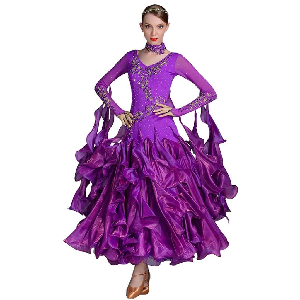 女性Vネックモダンダンススカートドレスダンス服バレエラテンダンス服 B07HRQFTMC XL|パープル パープル XL