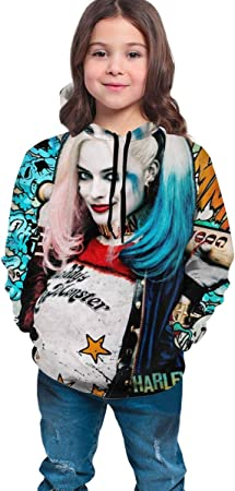 dgfgad Sudadera con Capucha Kids Hoodie Suic-IDE Squad Har-Ley Q-uinn Magic Girl Youth Sweatshirts 3D Print Pullover Clothes Hooded for Boys Girls