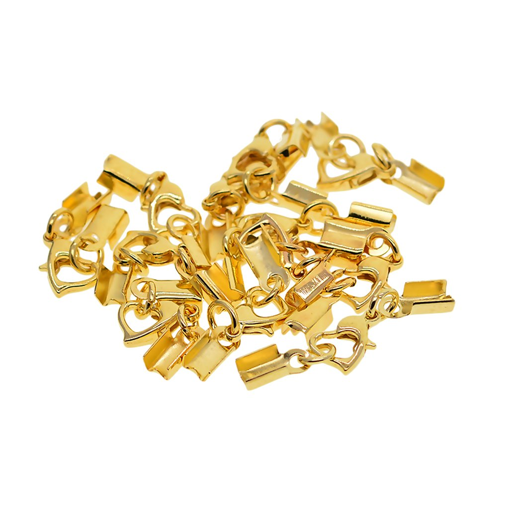 D DOLITY 12 Sets Crimp Ends Bead Cover Lobster Clasps Cords End Caps Finding Supplies gold as described