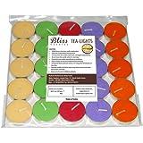 Bliss India Bliss Tea-Light Candles, 25 Piece (Five Colour, 3.7 cm x 1 cm)