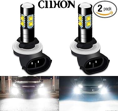 1 Pair 6000K Car LED White Fog Light Bulb DRL Driving Headlight Lamp Replacement
