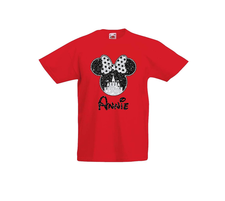 Girls Personalised Glitter Minnie Mouse Disney T-Shirt, Beautiful Glittery Print