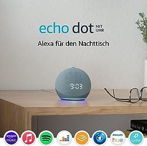 Echo Dot (4. Generation)   Smarter Lautsprecher mit Uhr und Alexa   Blaugrau