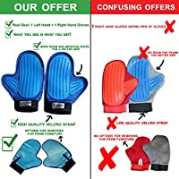 New Pair Of Pet Gloves: Left & Right Hand + 2 Toys: Dog & Cat Grooming Tool, Fur Remover Brush - Pet Massage & Deshedding Groomer brush - Soft Rubber Mitt - Car & Furniture Hair remover For Pet Owners