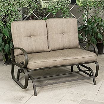 Cloud Mountain Patio Glider Bench Outdoor Cushioned 2 Person Swing Loveseat  Rocking Seating Patio Swing Rocker