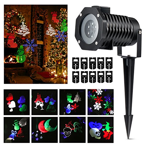 Halloween Projector lights, Magicfly Rotating Projection Led Lights Snowflake Spotlight, 10PCS Pattern Lens Xmas Led Projector Light Show Multicolor landscape lights Waterproof for Wall Party, -