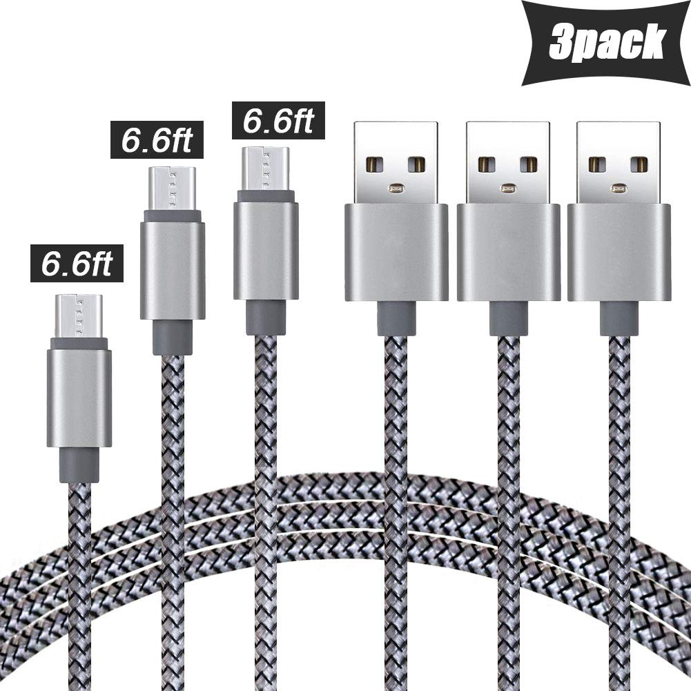 Nylon Braided Micro USB Cables Fast Charge & Data Wire, Android Charger Cords 3 Pack 6FT Compatible with Samsung Tablet Charger,Smartphone,Galaxy S7 S6 Edge J7,Note 5 4,LG,Kindle,Plug,Camera and More