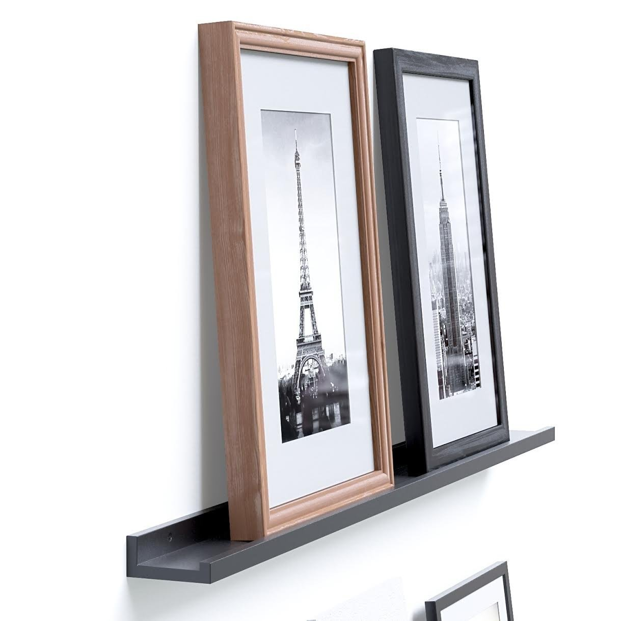 amazoncom modern design floating picture display ledge wall  - amazoncom modern design floating picture display ledge wall mountableshelf  inches long black home  kitchen