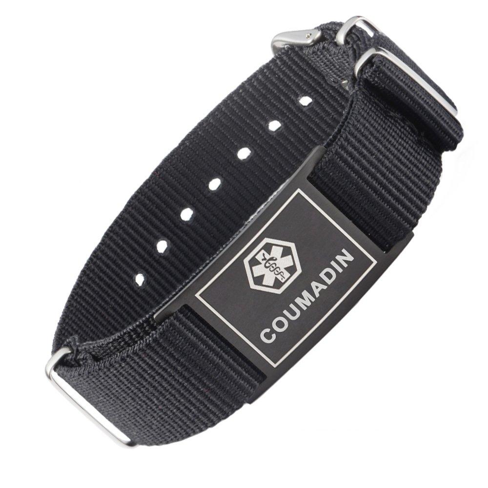 LinnaLove Cool black Sports Canvas band Medical alert id bracelets - COUMADIN