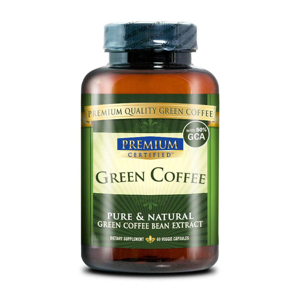 Green Coffee Bean Extract 100% Pure - 50% Chlorogenic Acid - 60 Capsules - Quick Fat Burner