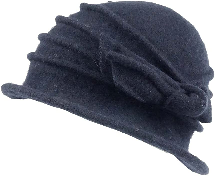 7e34d31bbae Ladies Winter Pull on Cloche Ribbed Wool Hat with Bow (BH5066) (Navy)   Amazon.co.uk  Clothing