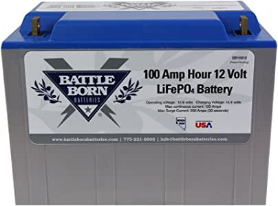 Battle Born LiFePO4 Deep Cycle Battery - 100Ah 12v with Built-in BMS - 3000-5000 Deep Cycle Rechargeable Battery - Perfect for RV/Camper, Marine, Overland/Van, and Off Grid Applications