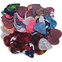 RuleaxAsi 100 unidades/pacote colorido palhetas de guitarra celulóide para baixo guitarra elétrica acústica (cores…