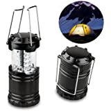Camping Lantern, YIFENG Portable Outdoor LED Camp Light / Lantern, 30 LEDs, Perfect for Outdoor Hiking, Outages, Camping, Hurricanes, Storms, Emergencies (Black, Collapsible)