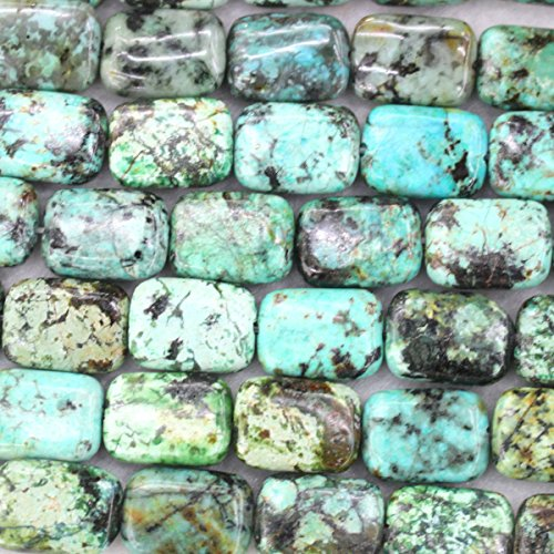 Rectangle Beads Turquoise African (fashiontrenda Natural color African Turquoise Rectangle 10x14mm Gemstone Jewelry Making Loose Beads)