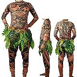 FEEAA Moana Maui Tattoo T Shirt/Pants Halloween Adult Mens Women Cosplay Costume (XL)