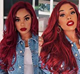 red wig long - AISI HAIR Wavy Side Part Heat Resistant Wig Cosplay Wig