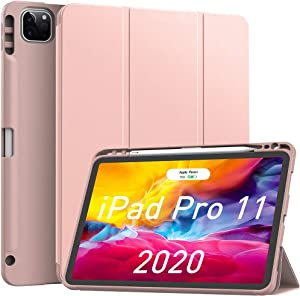 Soke iPad Case Pro 11in 2020 with Pencil Holder,New iPad case 11 inch Lightweight Smart Cover with Soft TPU Back +?Apple Pencil Charging?+Auto Sleep/Wake for iPad Gen 2020 (Rose Gold)
